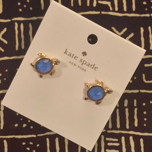 Kate Spade Turtle Stud Earrings Blue Gold!